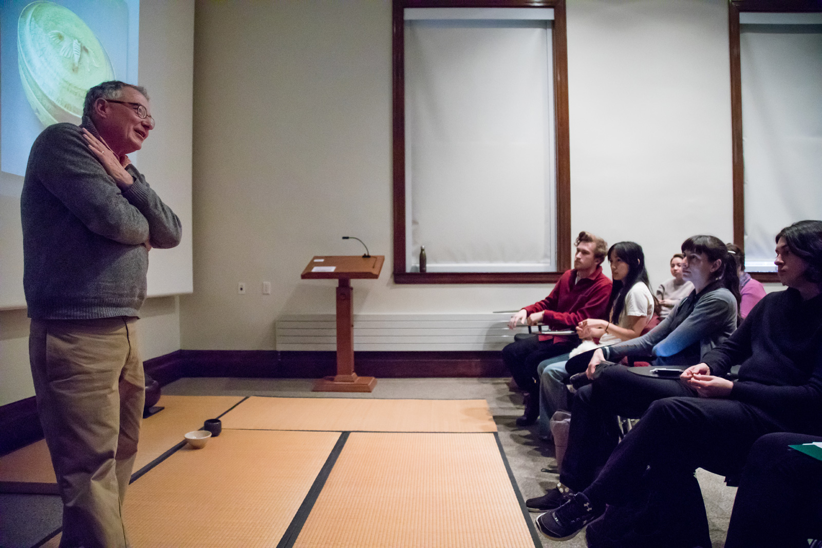 "Professor Samuel Morse teaching his course, ""The Tea Ceremony and Japanese Culture"""