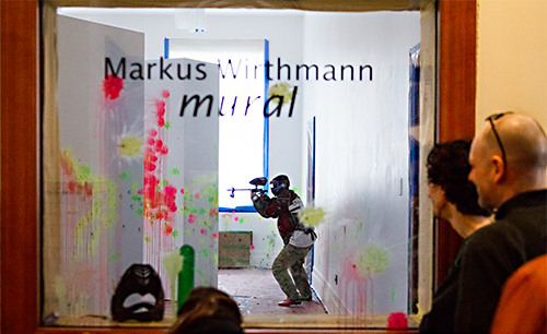 Paintball marker mural in the making