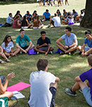 students on quad during orientation