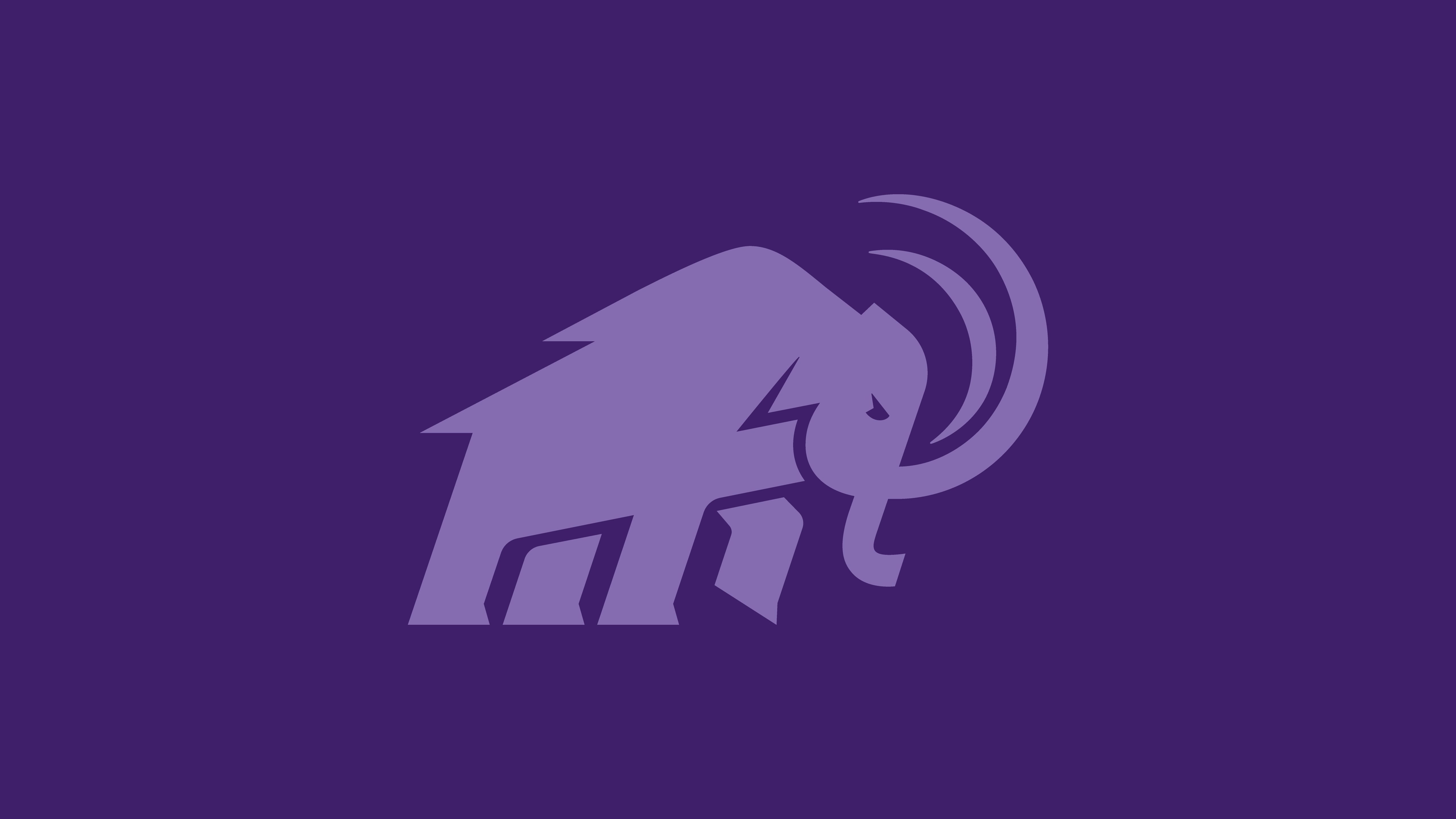 Light purple mammoth logo on dark purple background