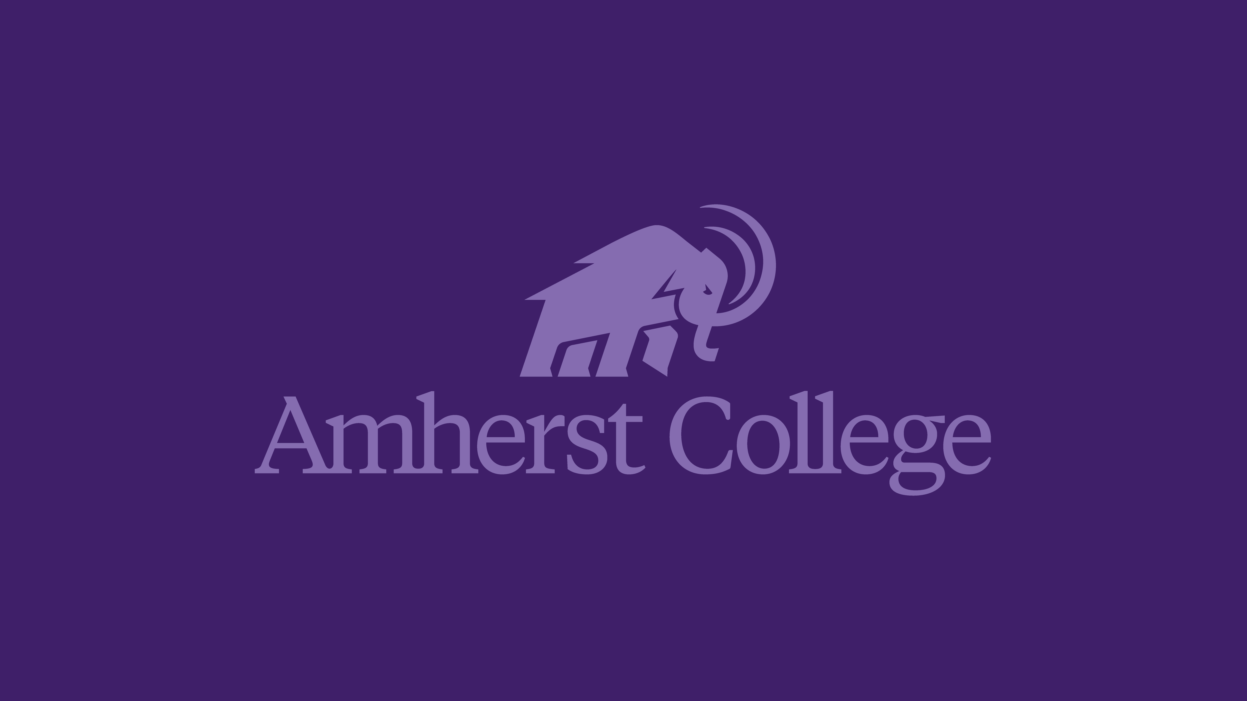 Light purple mammoth logo and Amherst College wordmark on dark purple background