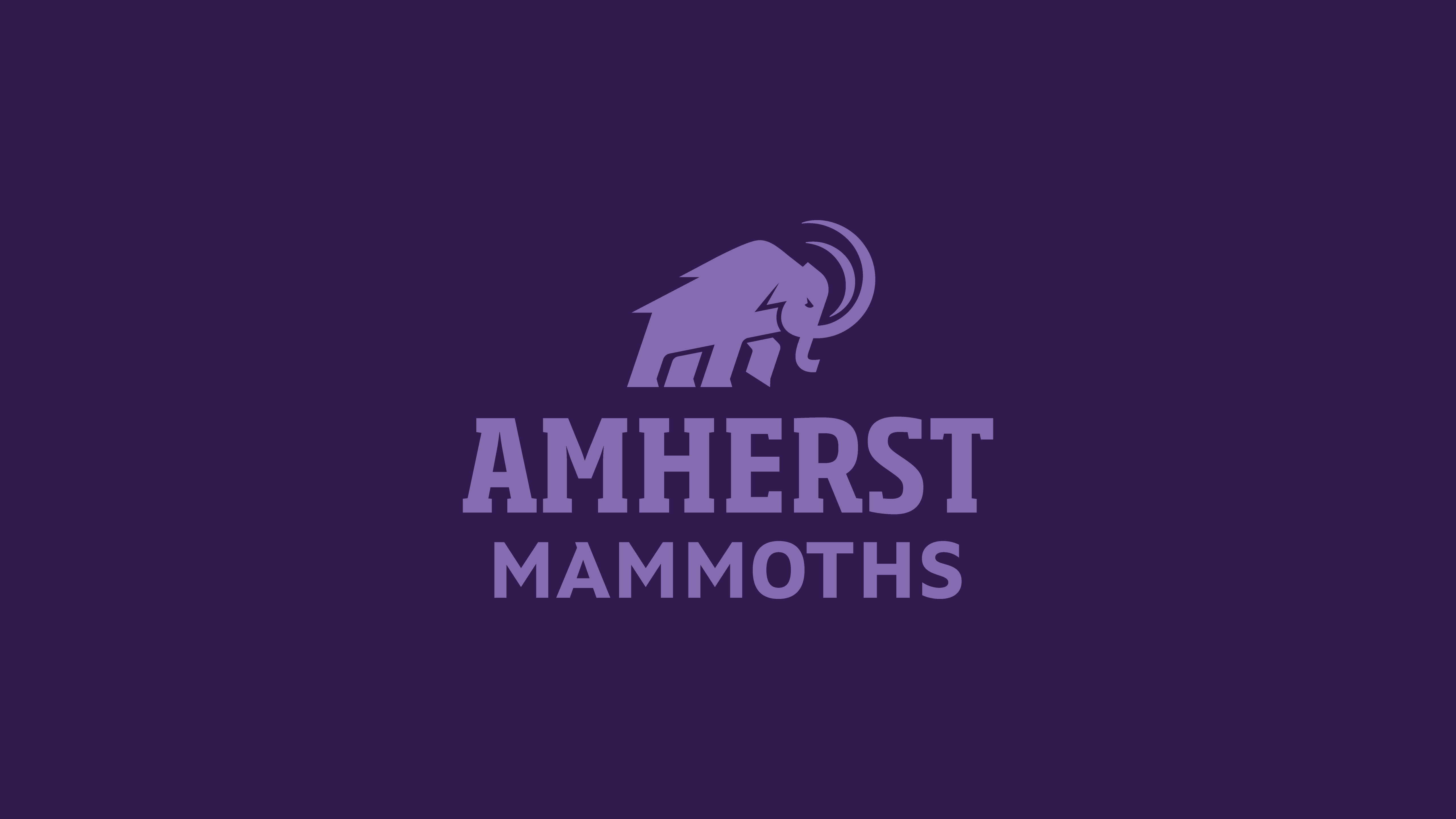 Light purple mammoth logo and Amherst Mammoths wording on dark purple background