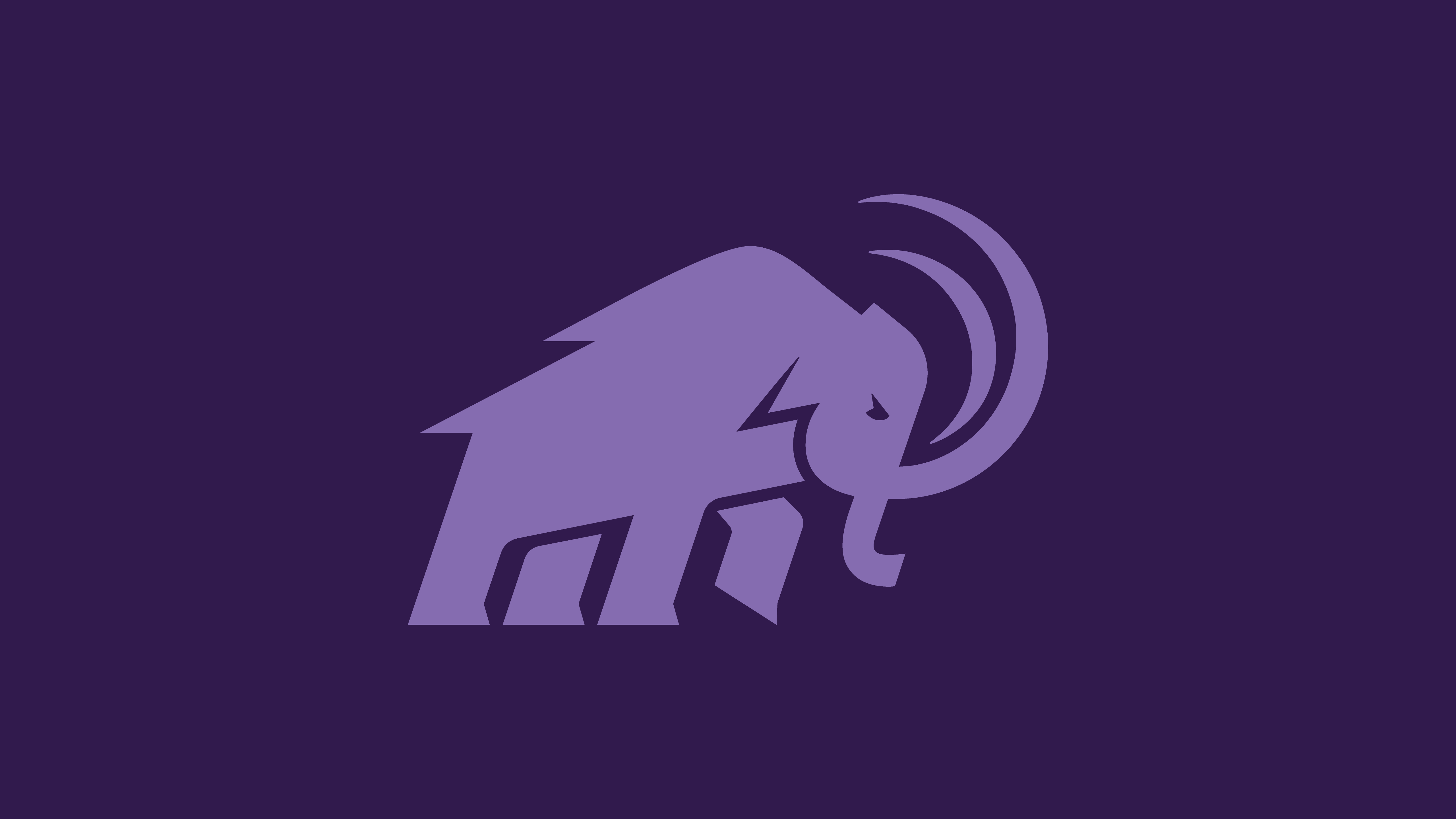Light purple mammoth logo on darker purple background
