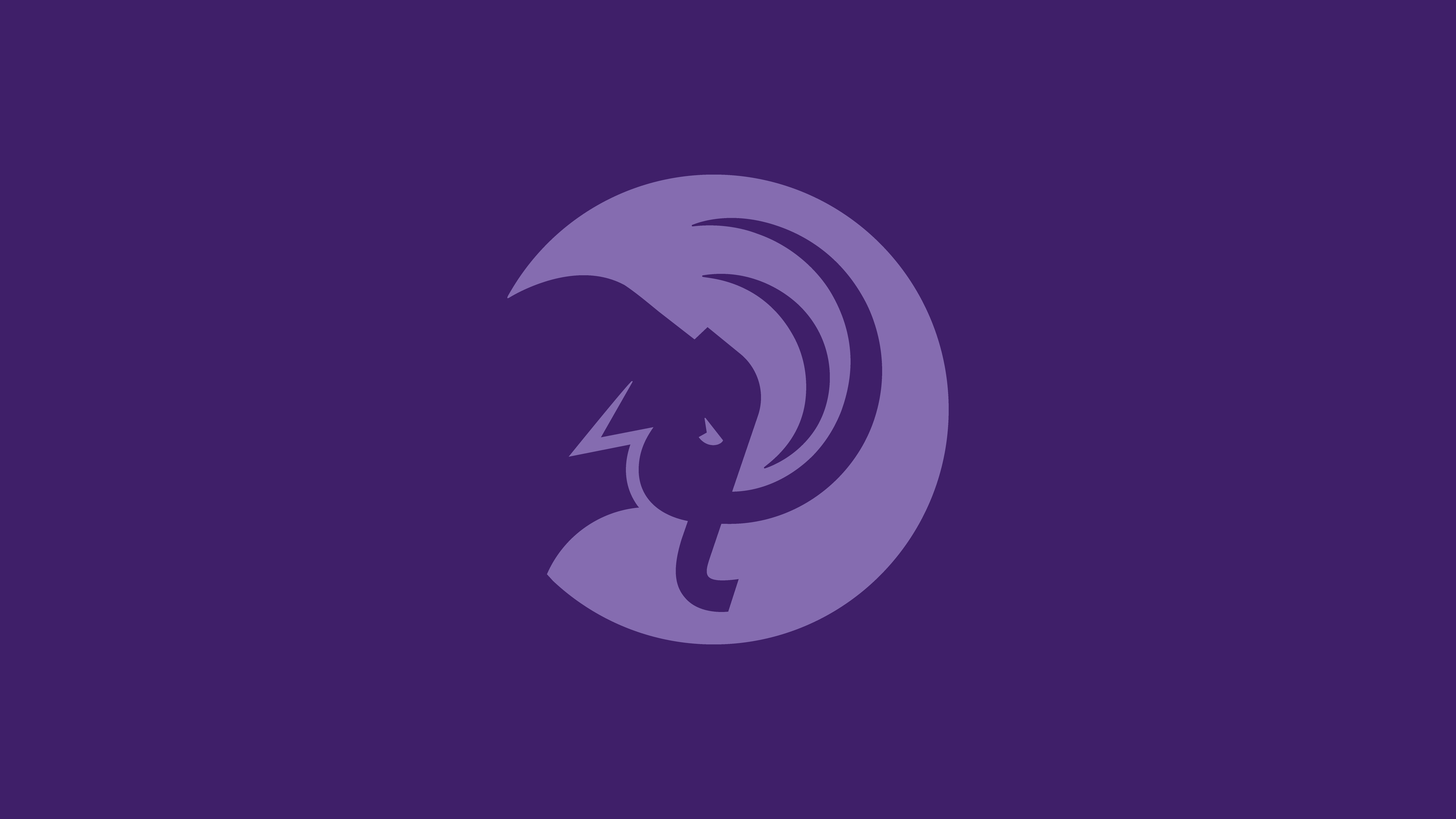 Light purple mammoth head circular logo on dark purple background