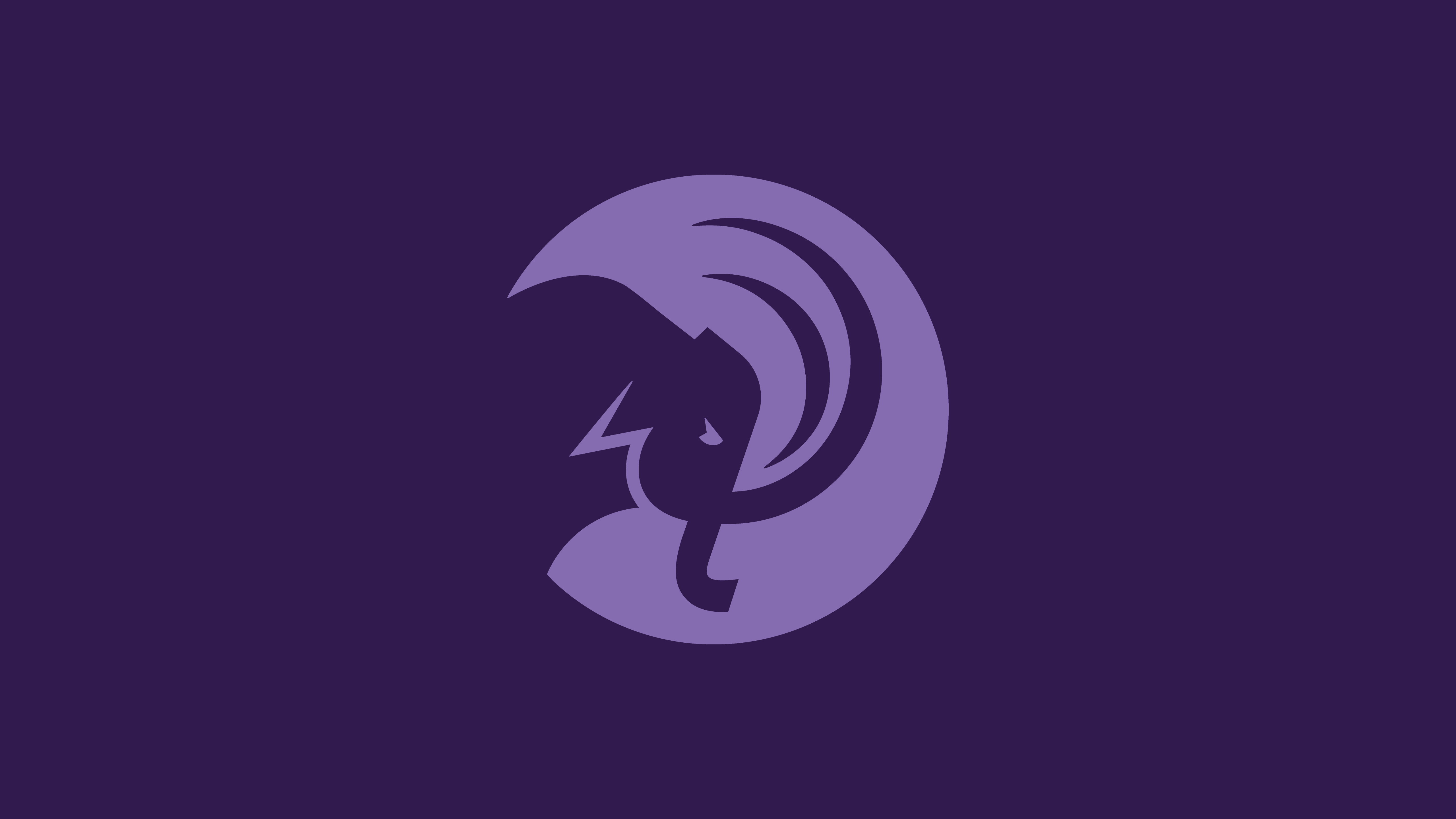 Light purple mammoth head circular logo on darker purple background
