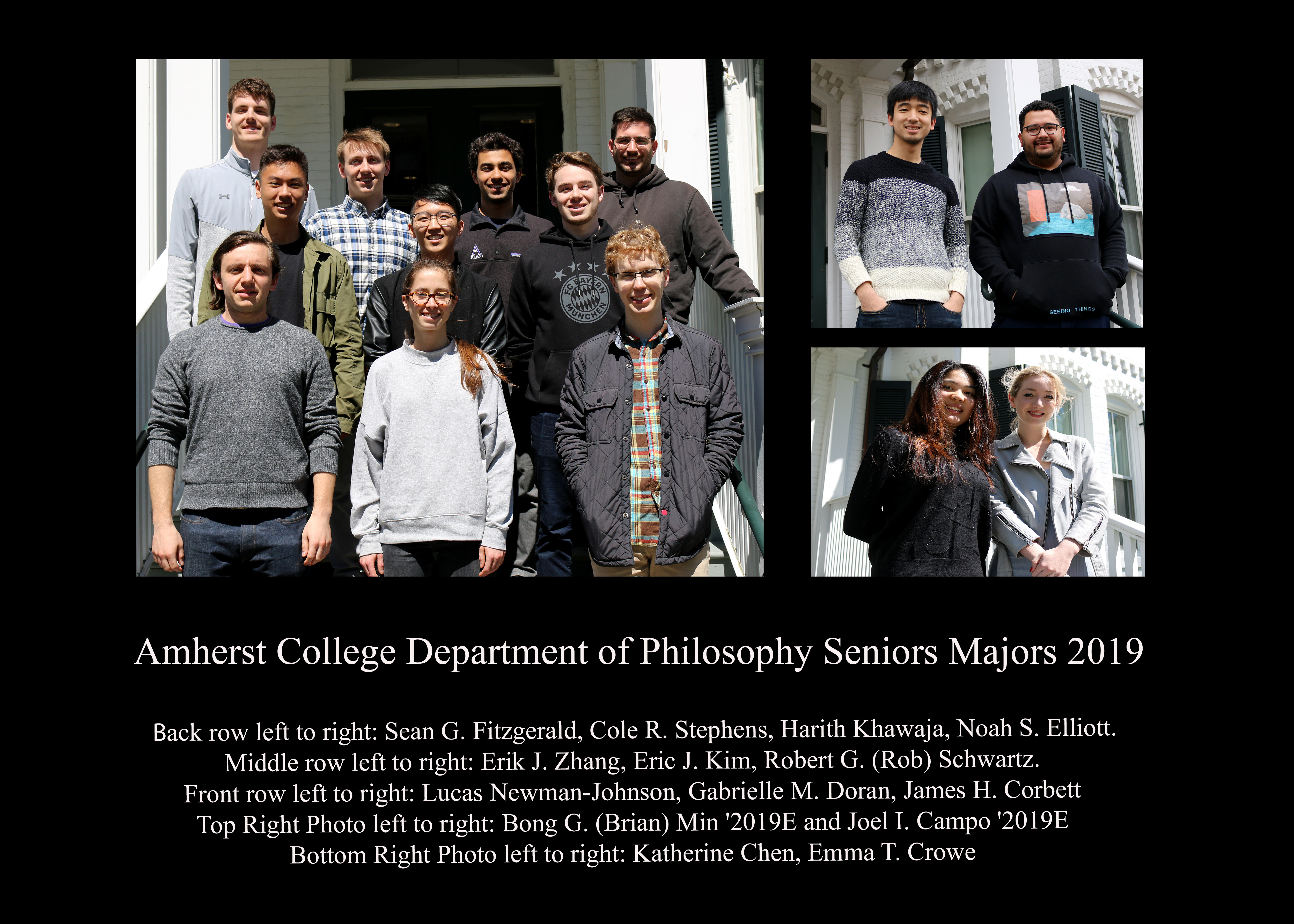 Fourteen seniors who are Philosophy majors at Amherst College posing together outside