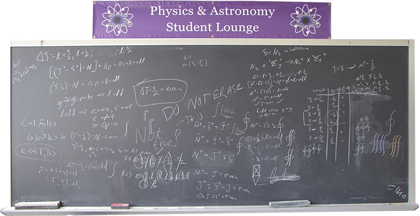 Blackboard covered with equations in the Physics & Astronomy Student Lounge