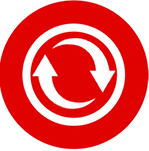 A logo with two arrows going in a circle