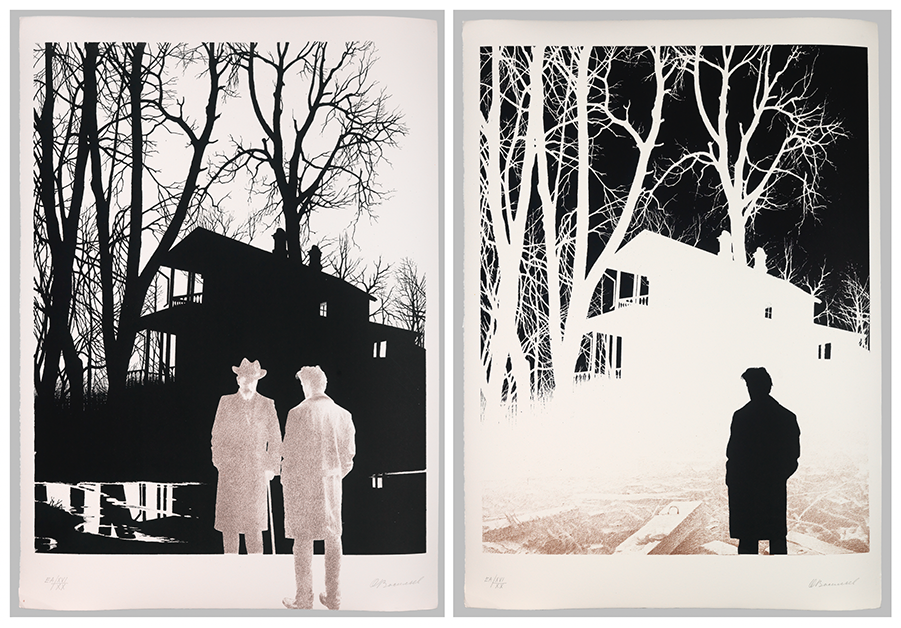 Two posters of people silhouetted against the shadow of a house