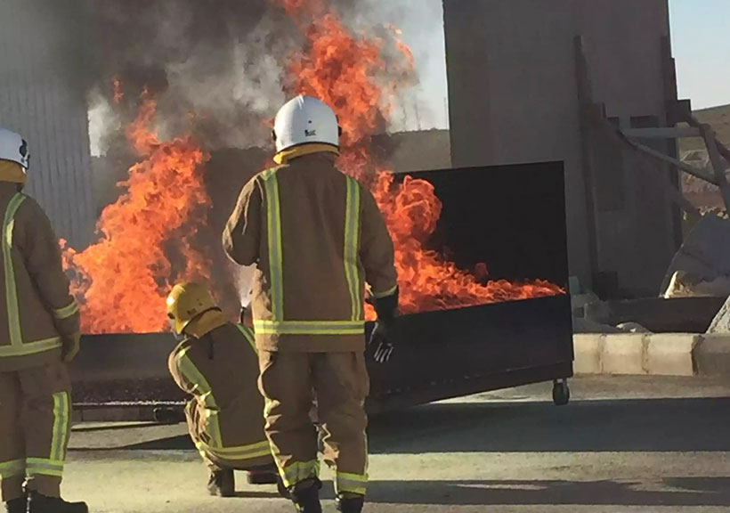 White Helmets training to put out fires