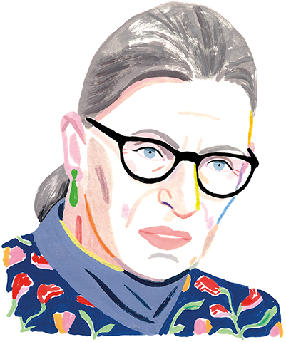 An illustration of a portrait of Ruth Bader Ginsburg