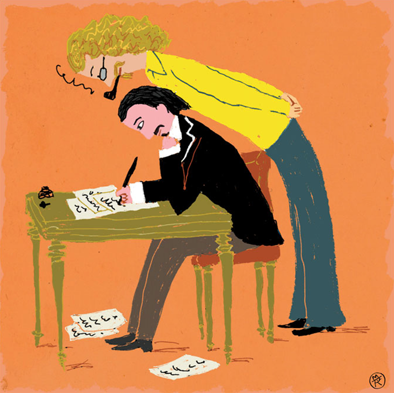 An illustration of a man leaning over a man sitting on a desk
