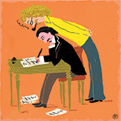 An illustration of a man leaning over another man writing at a desk