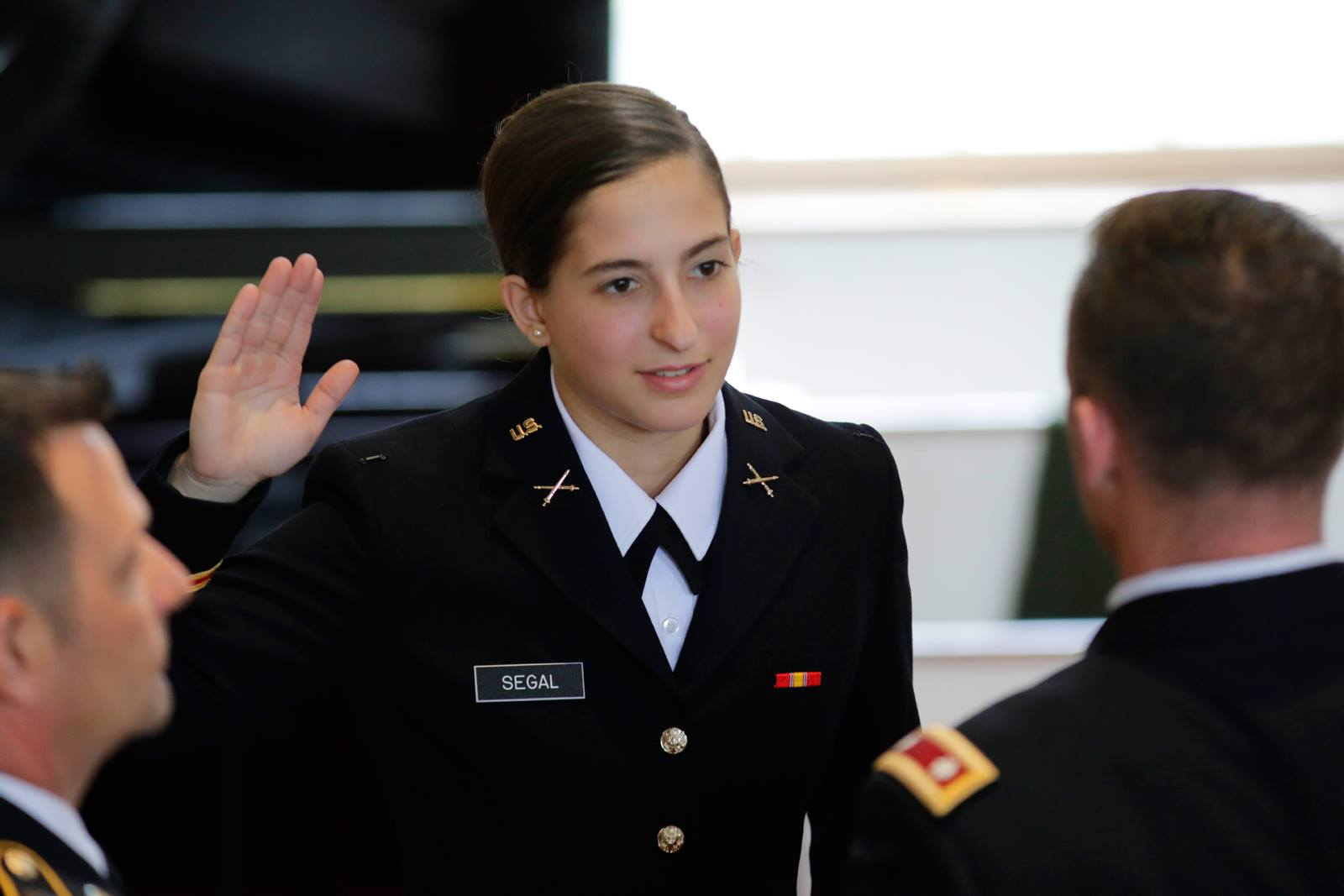 Rebecca Segal '18 at the ROTC Commissioning Ceremony