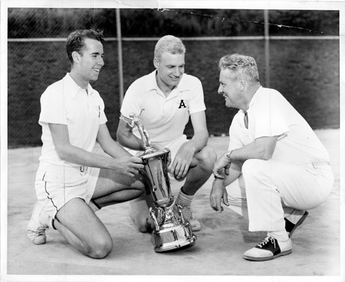 From left, Ed Wesely, David Mesker  and Coach Frank Gillespie with the sought-after NEI trophy