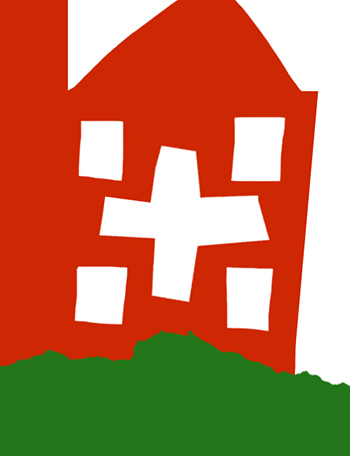 An illustration of a red house with a cross for a window