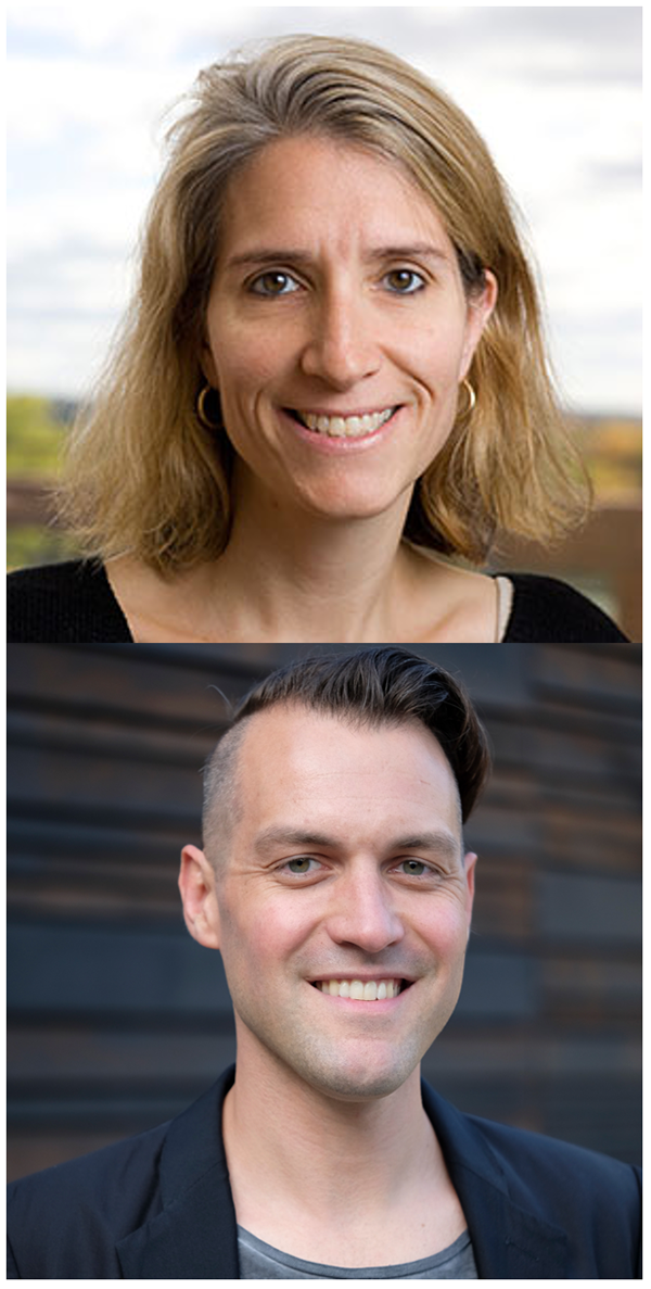 Two photos of Catherine Sanderson and Christopher Grobe