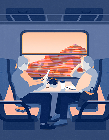 An illustration of two people sitting across from each other on a plane