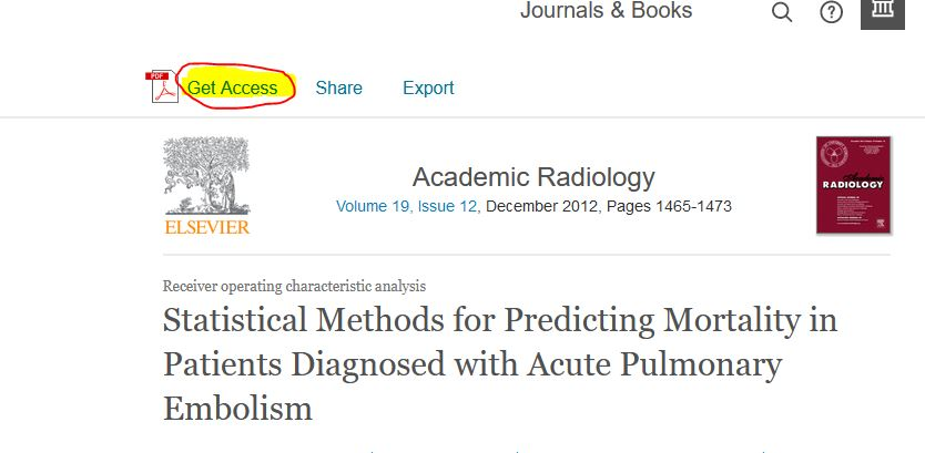 "Screenshot of Science Direct article with ""Get Access"" link at top highlighted"