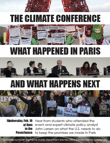COP 21 Recap Event, February 10th, 8pm, Power House