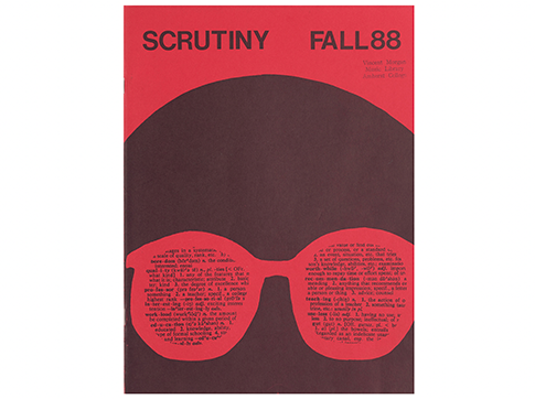 """A red book cover that has an illustration of a man in sunglasses with the title """"Scrutiny Fall 1988"""""""