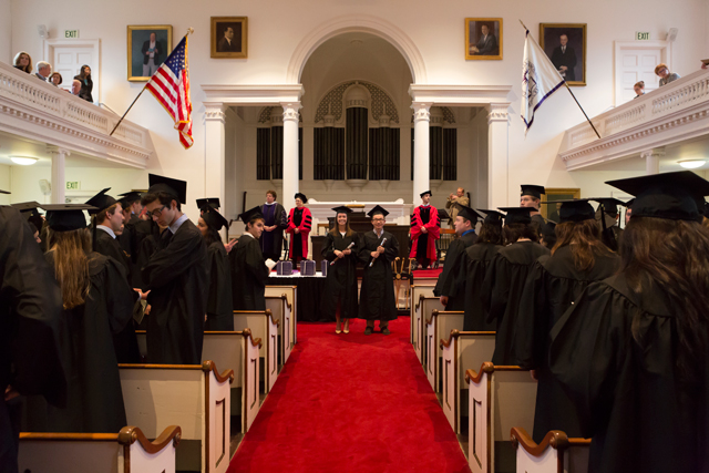 The procession arrives in Johnson Chapel for Senior Assembly 2016