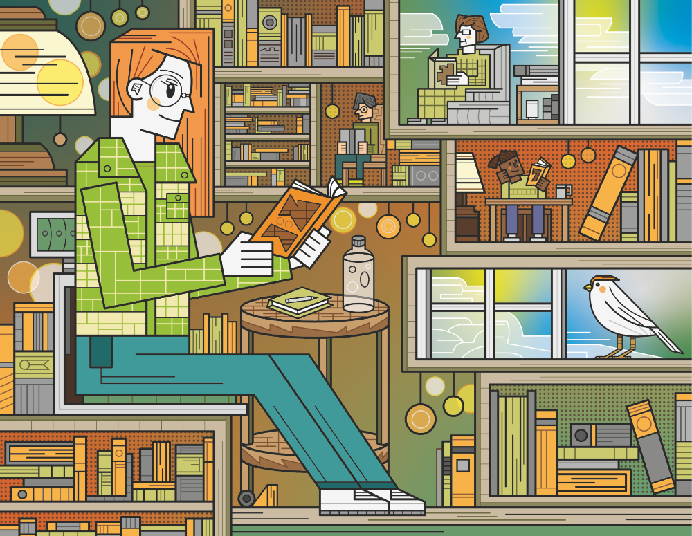An illustration of a person reading in a bookshop
