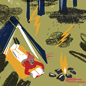 An illustration of a person reading under a tent next to campfire