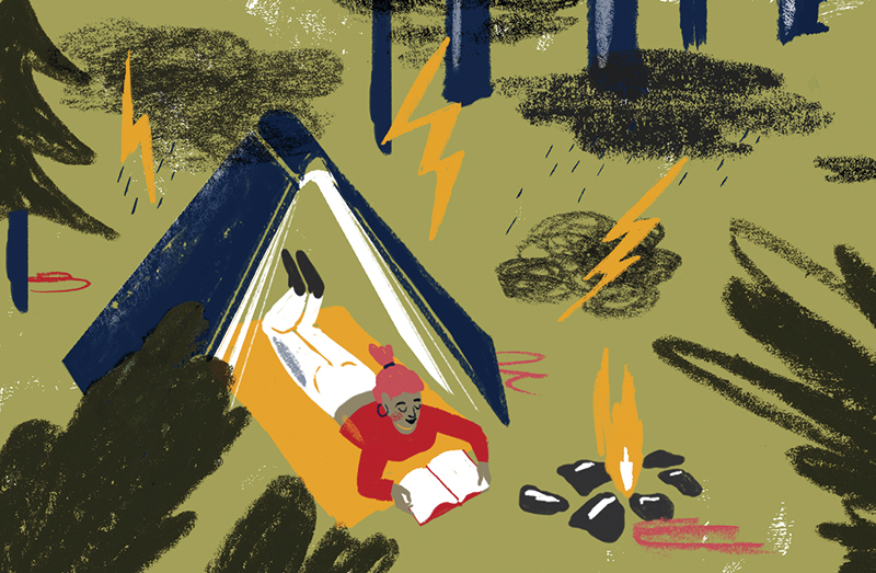 An illustration of a person reading a book in a tent by a campfire