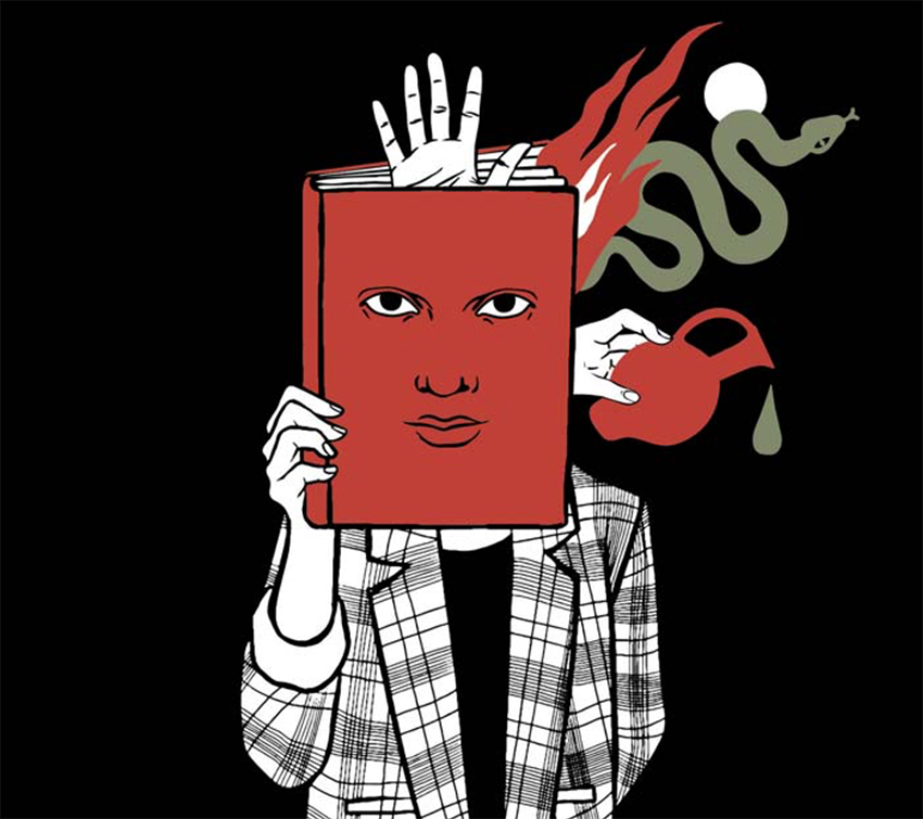An illustration of a man holding a book over his face with a face on the book
