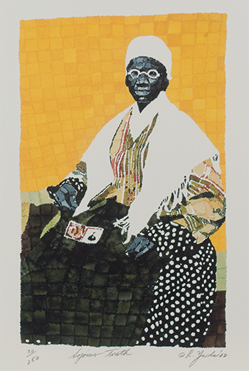 A modern, collage painting of a black woman in a rocking chair