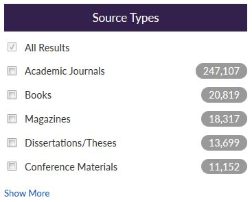 screenshot of Discover source types limiter, with Academic Journals, Books, Magazines, and other checkboxes