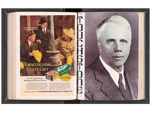 A magazine spread with a cigarette ad on the left page and a portrait of an older man on the right page