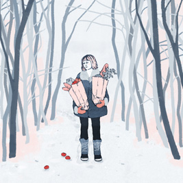 Illustration of woman in snowy woods carrying grocery bags
