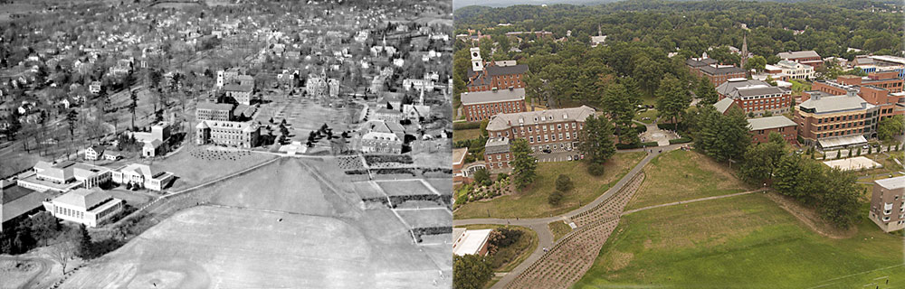 Aerial of campus -- 1946 and 2017