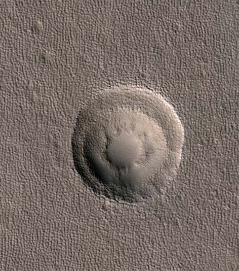 A triple-tiered impact crater