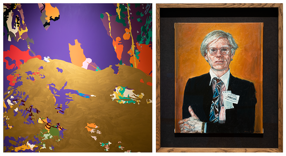 An abstract painting with gold, purple and red colors and a painting of a portrait of Andy Warhol
