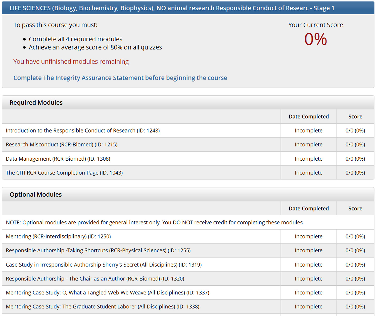 Responsible Conduct Of Research Registration And Course Modules