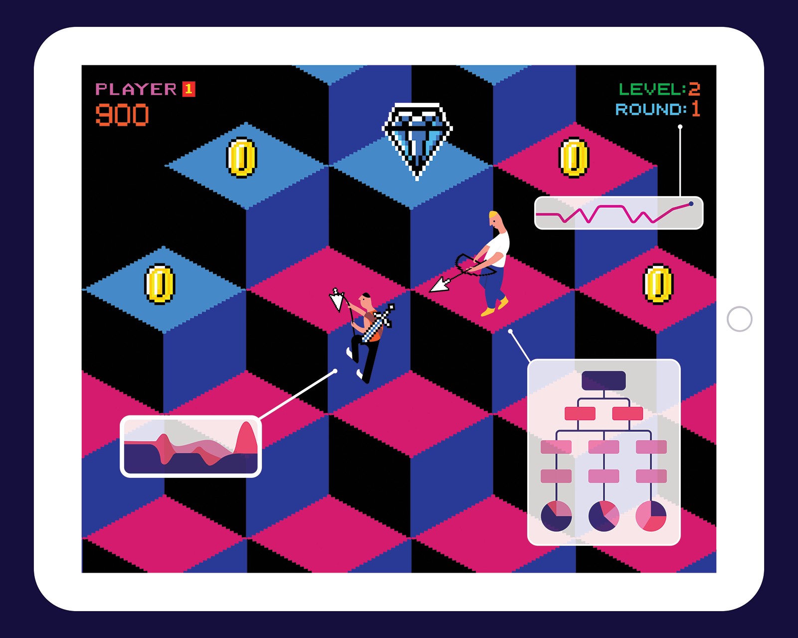 Illustration of a video game