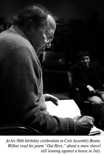 Richard Wilbur reading a poem at his 90th birthday celebration.