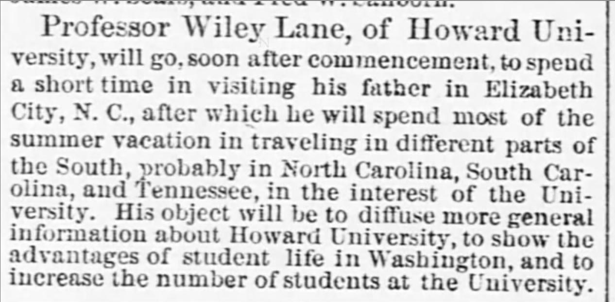 newspaper item about Wiley Lane, text in caption below image