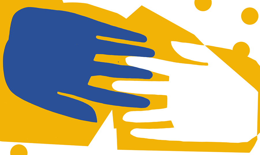 An illustration of two hands reaching out and touching