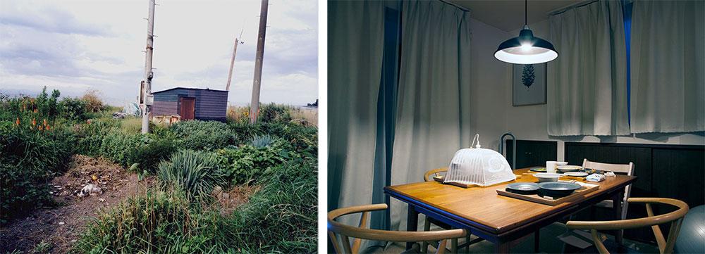 Photographs by Yoko Asakai of Asparagus field and empty dinner table