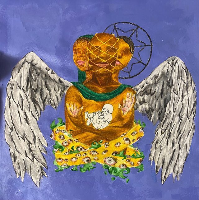 painted three-headed figure with angel wings on a blue background