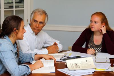 Austin Sarat with two student collaborators