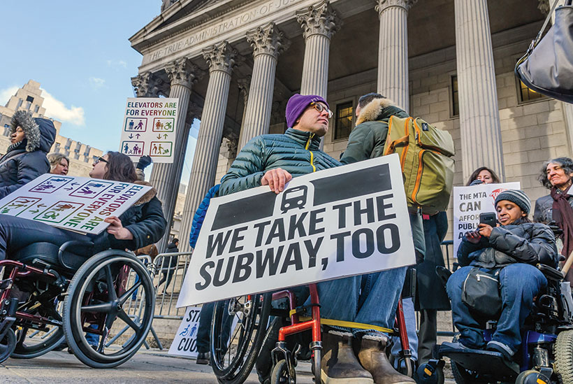 Protesting in New York about subway accessibility