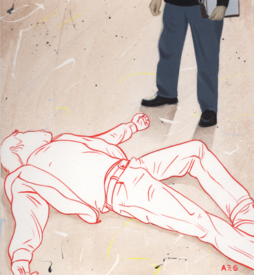 Illustration of prone body with policeman standing above
