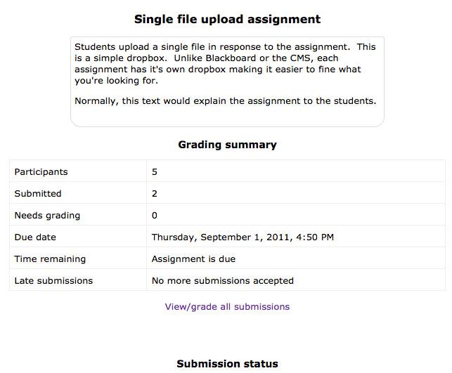 Assignment screen