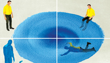 Watercolor illustration in 4 panels; man diving into blue pool