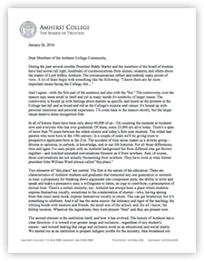 Read PDF of Amherst College Board Statement January 2016